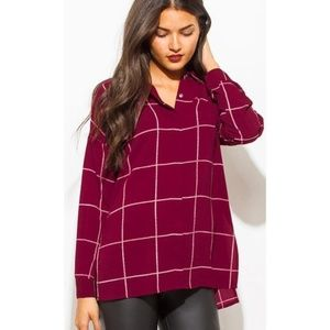 Sweet Wanderer • Wine Red Plaid Blouse
